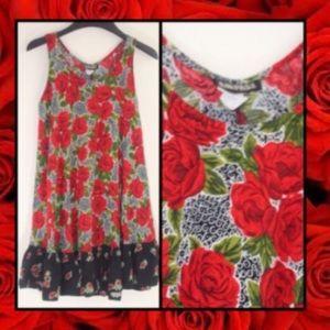 Rampage Vintage Red Rose 🌹 90s Mini Swing Dress M